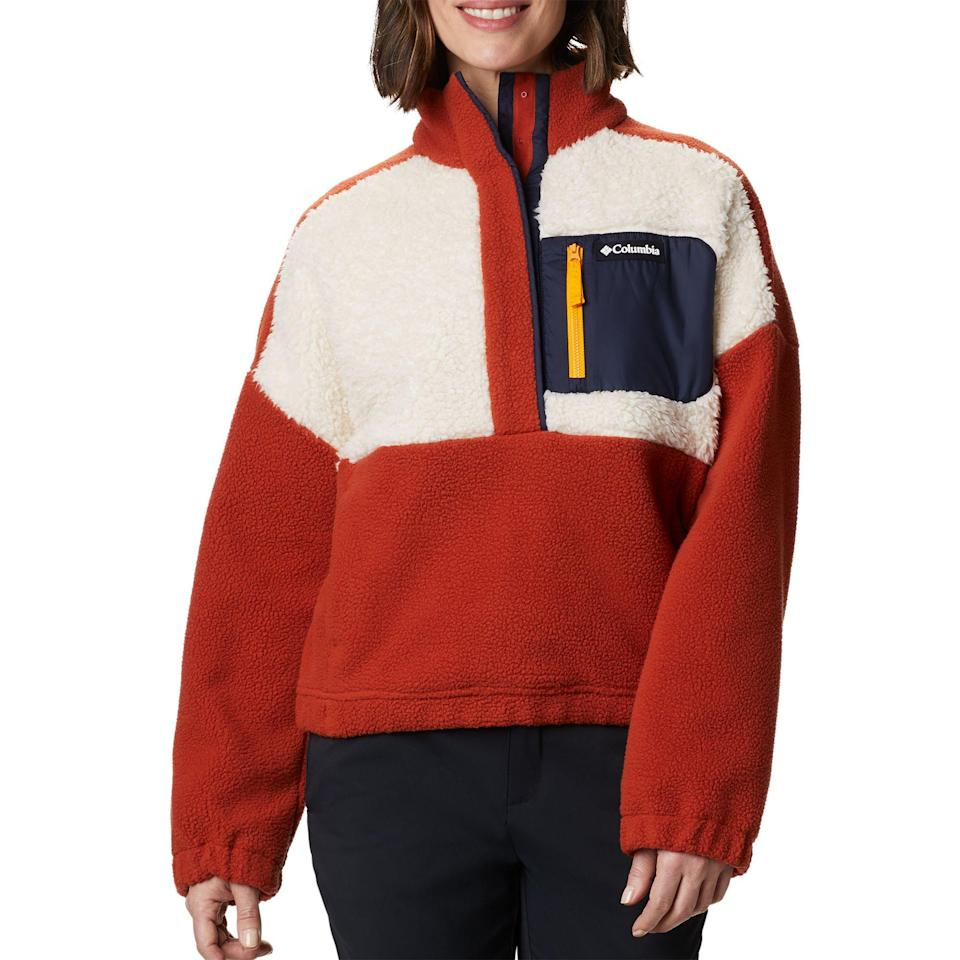 """<br><br><strong>Columbia</strong> Lodge Sherpa Full-Zip Sherpa Pullover, $, available at <a href=""""https://go.skimresources.com/?id=30283X879131&url=https%3A%2F%2Fwww.dickssportinggoods.com%2Fp%2Fcolumbia-womens-lodge-sherpa-full-zip-sherpa-pullover-20cmbwwclmbldgshrapo%2F20cmbwwclmbldgshrapo"""" rel=""""nofollow noopener"""" target=""""_blank"""" data-ylk=""""slk:Dick's Sporting Goods"""" class=""""link rapid-noclick-resp"""">Dick's Sporting Goods</a>"""