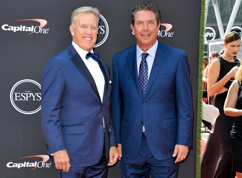 LOS ANGELES, CA - JULY 18: John Elway (L) and Dan Marino attend The 2018 ESPYS at Microsoft Theater on July 18, 2018 in Los Angeles, California. (Photo by Allen Berezovsky/FilmMagic)
