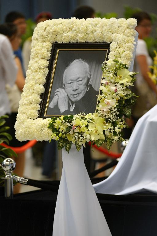 A memorial portrait of Singapore's late former prime minister Lee Kuan Yew is seen as he lies in state at Parliament House ahead of his funeral in Singapore on March 28, 2015