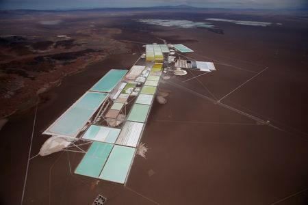 An aerial view of the brine pools and processing areas of the Rockwood lithium plant on the Atacama salt flat, the largest lithium deposit currently in production, in the Atacama desert of northern Chile in this file photo dated January 10, 2013. REUTERS/Ivan Alvarado