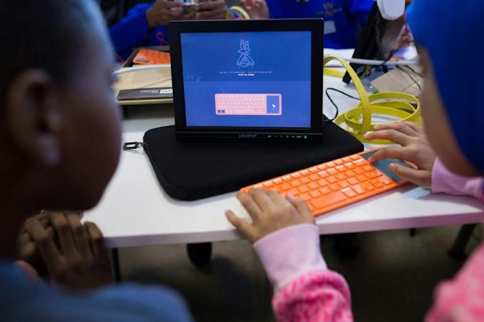 What if they don't have computers at home? (AFP Photo/LEON NEAL)