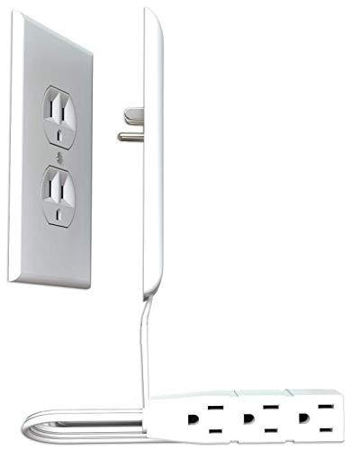 Sleek Socket Ultra-Thin Electrical Outlet Cover with 3 Outlet Power Strip and Cord Management K…