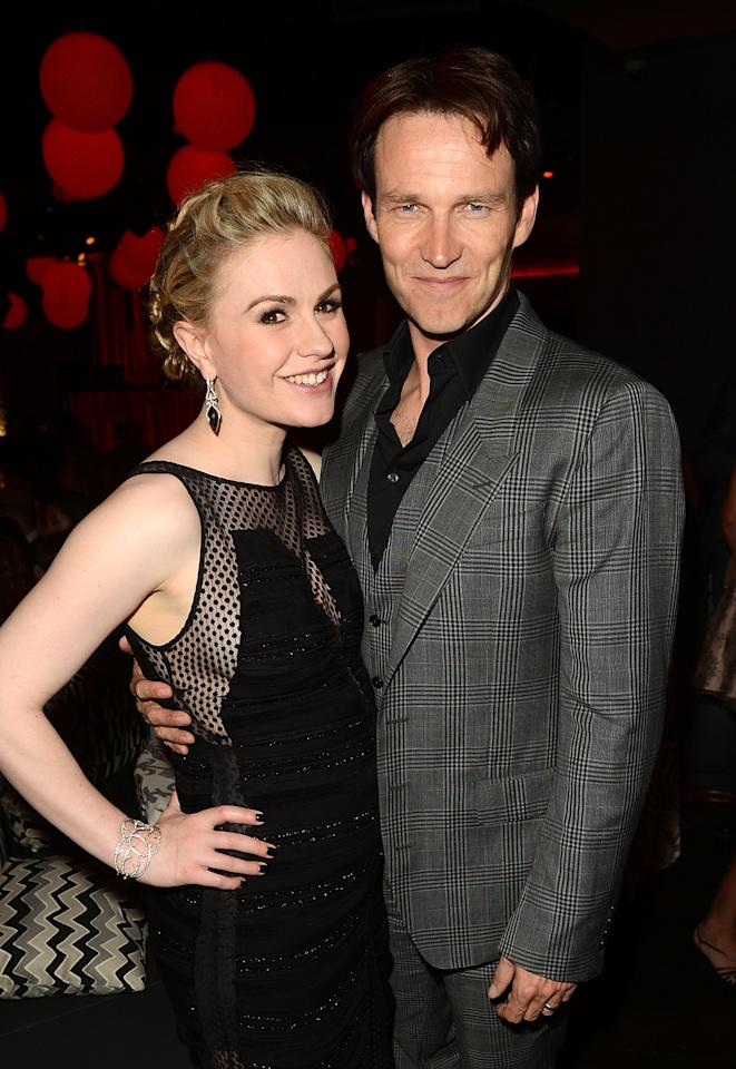 HOLLYWOOD, CA - MAY 30:  Actors Anna Paquin (L) and Stephen Moyer  at ArcLight Cinemas Cinerama Dome on May 30, 2012 in Hollywood, California.  (Photo by Jason Merritt/Getty Images)