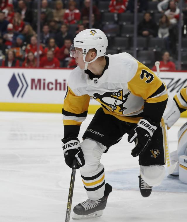 Pittsburgh Penguins defenseman Olli Maatta during the third period of an NHL hockey game against the Detroit Red Wings, Tuesday, April 2, 2019, in Detroit. (AP Photo/Carlos Osorio)