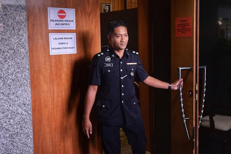 Inspector Mohd Husyairi Musa is pictured on the second day of the Wang Kelian Royal Commission of Inquiry (RCI) hearing in Putrajaya April 25, 2019. — Picture by Shafwan Zaidon