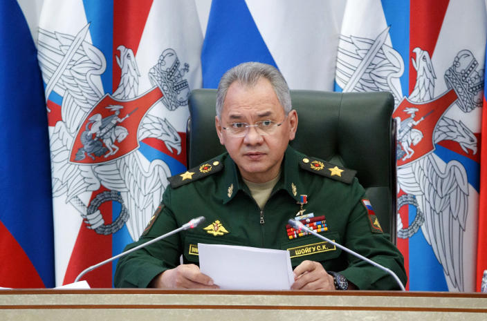 "In this photo released by Russian Defense Ministry Press Service, Russian Defense Minister Sergei Shoigu speaks at a meeting with the top military brass in Moscow, Russia, Tuesday, April 20, 2021. Shoigu on Tuesday accused Ukraine of trying to destabilize the situation in eastern Ukraine and lashed out at the U.S. and NATO for what he described as ""provocative actions"" in the Black Sea area. (Russian Defense Ministry Press Service via AP)"