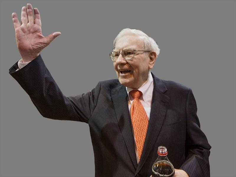 Warren Buffett greets shareholders during shareholders meeting, Omaha, Nebraska, graphic element on gray