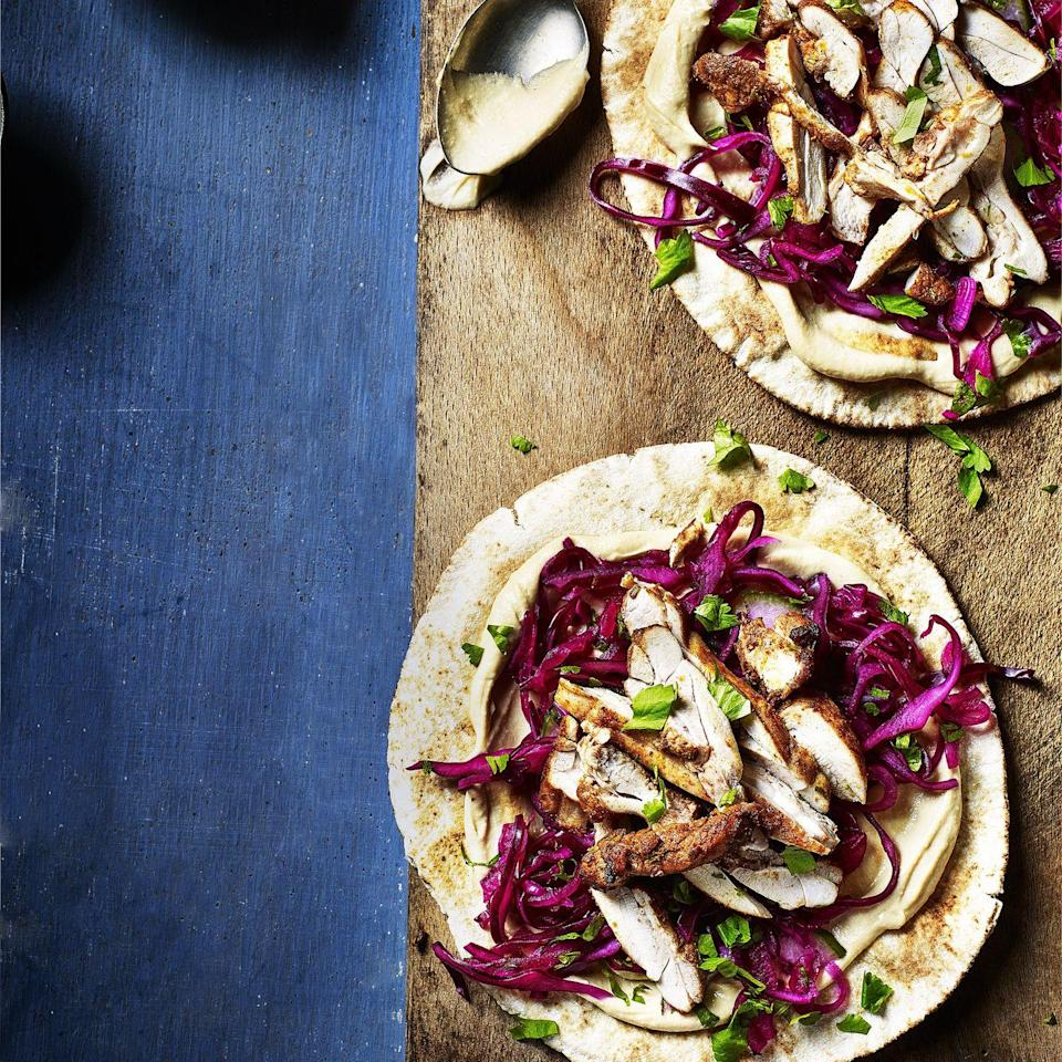"""<p>A balanced diet requires adequate protein, as it's a key building block that your body needs to repair and maintain itself. Which is where this speedy midweek supper, chicken shawarma flatbreads, come in. Easy-to-prepare, it delivers nutritionally and also brings masses of flavour without the need for lots of ingredients.</p><p><a class=""""link rapid-noclick-resp"""" href=""""https://www.redonline.co.uk/food/recipes/a35177194/chicken-shawarma-flatbreads/"""" rel=""""nofollow noopener"""" target=""""_blank"""" data-ylk=""""slk:CHICKEN SHAWARMA FLATBREADS RECIPE"""">CHICKEN SHAWARMA FLATBREADS RECIPE</a></p>"""