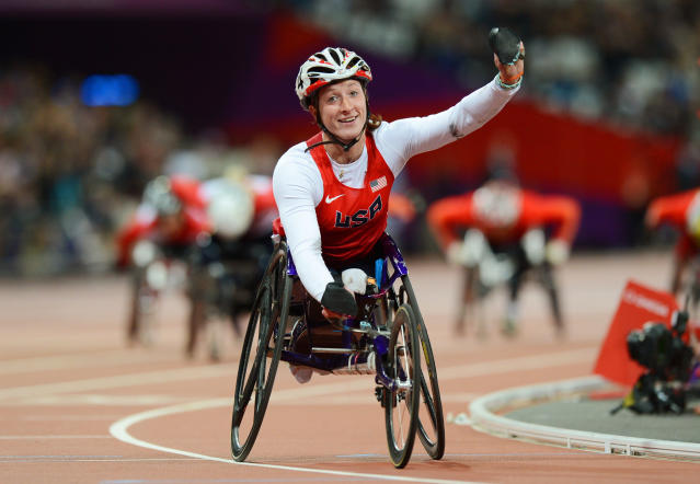 LONDON, ENGLAND - SEPTEMBER 05: Tatyana Mcfadden of the United States celebrates as she wins gold in the Women's 800m T54 Final on day 7 of the London 2012 Paralympic Games at Olympic Stadium on September 5, 2012 in London, England. (Photo by Gareth Copley/Getty Images)