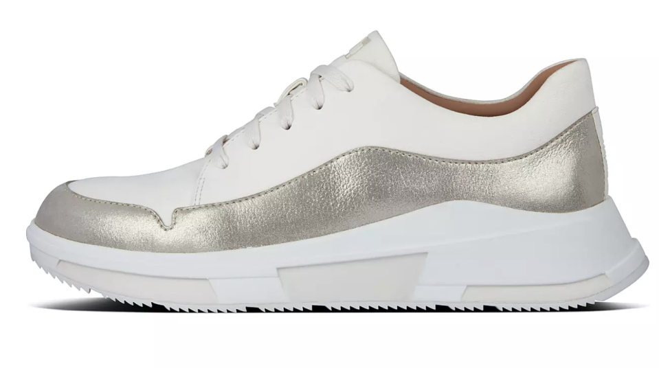 A metallic sheen dresses up these simple sneakers. (Photo: Fitflop)