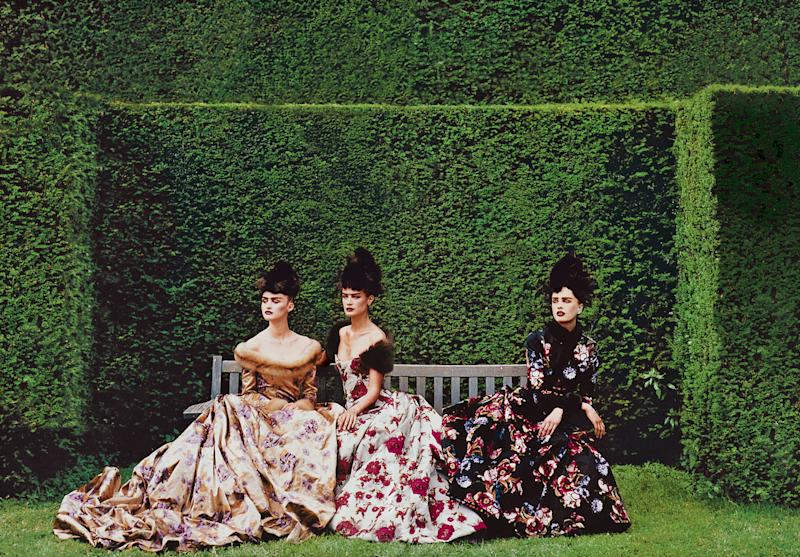 """Couture's Glorious Excess,"" with models Trish Goff, Carolyn Murphy, and Kylie Bax"