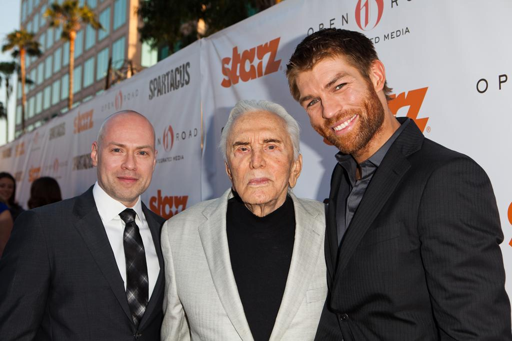 "Producer / creator Steven S. DeKnight, Kirk Douglas and Liam McIntyre arrive at Starz ""Spartacus"" Then and Now at Leonard Goldenson Theatre on May 31, 2012 in Hollywood, California."
