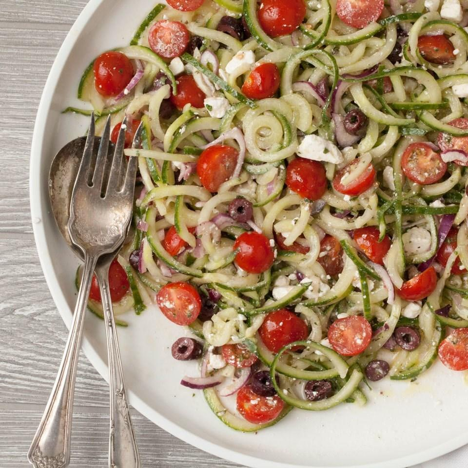 <p>Save time and spiralize crisp cucumber instead of chopping it for this easy, healthy vegetable side. Want to make it a meal? Just add grilled chicken, shrimp or canned chickpeas.</p>