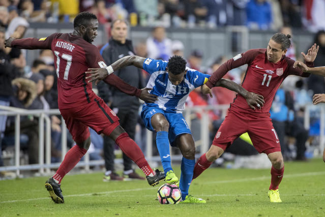 """<a class=""""link rapid-noclick-resp"""" href=""""/soccer/players/jozy-altidore/"""" data-ylk=""""slk:Jozy Altidore"""">Jozy Altidore</a> (left) is suspended. Could <a class=""""link rapid-noclick-resp"""" href=""""/soccer/players/alejandro-bedoya/"""" data-ylk=""""slk:Alejandro Bedoya"""">Alejandro Bedoya</a> (right) come into the USMNT team for Tuesday's match in Honduras? (Getty)"""