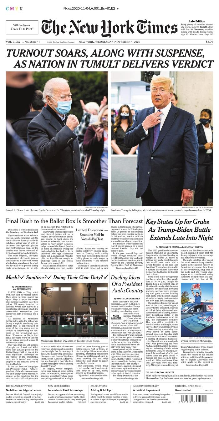 "THE NEW YORK TIMES, Published in New York, N.Y. USA (Courtesy <a href=""https://www.newseum.org/todaysfrontpages/"" rel=""nofollow noopener"" target=""_blank"" data-ylk=""slk:Newseum"" class=""link rapid-noclick-resp"">Newseum</a>)"