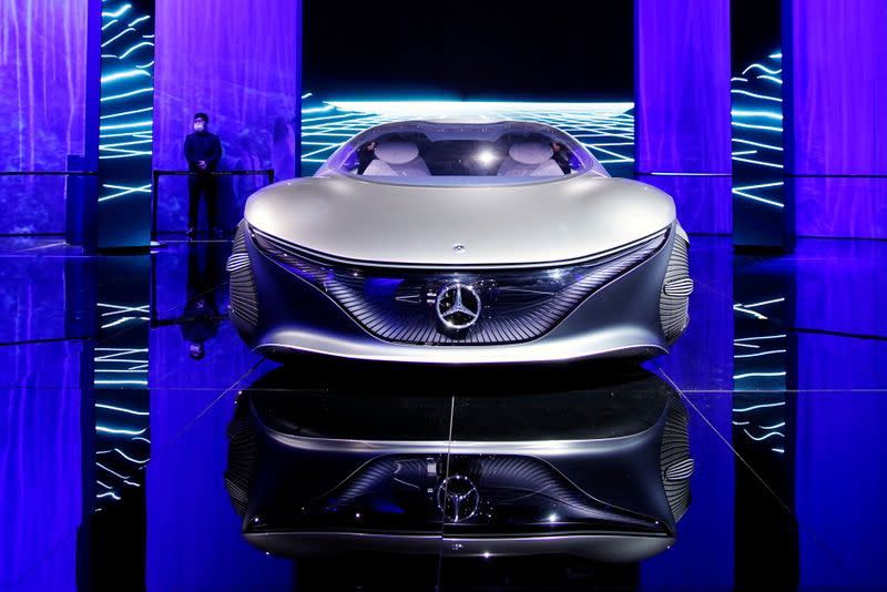 A Mercedes-Benz Vision AVTR concept vehicle is displayed during a media day at the Auto Shanghai show in Shanghai