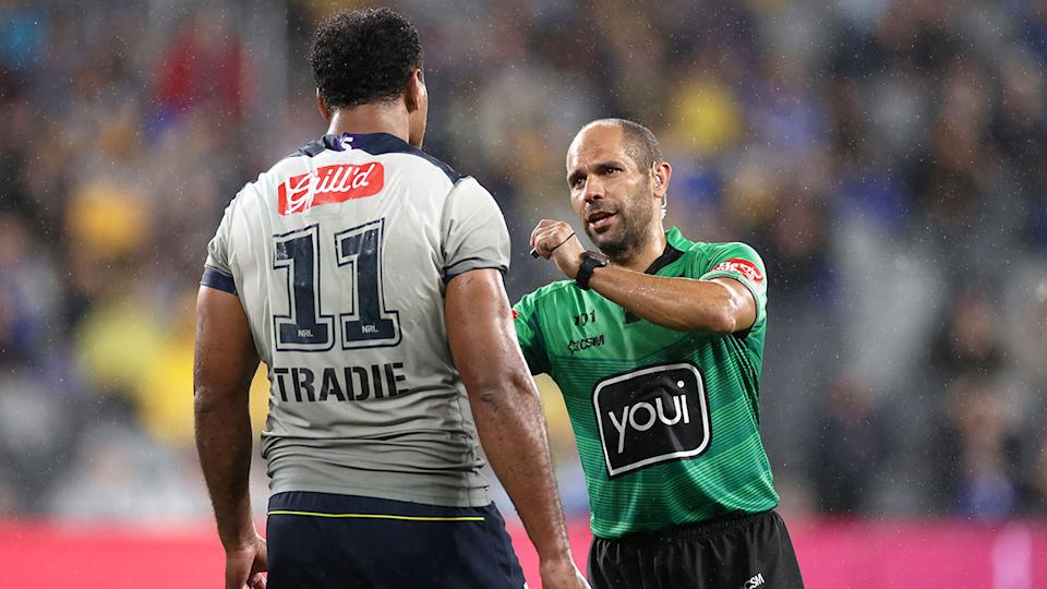 Seen here, Felise Kaufusi is placed on report against Parramatta.