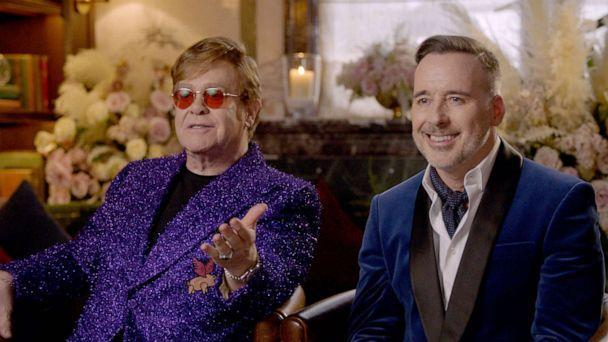 PHOTO: In this screen grab, Sir Elton John and David Furnish speak during the 29th Annual Elton John AIDS Foundation Academy Awards Viewing Party on April 25, 2021. (Getty Images for the Elton John Aids Foundation)