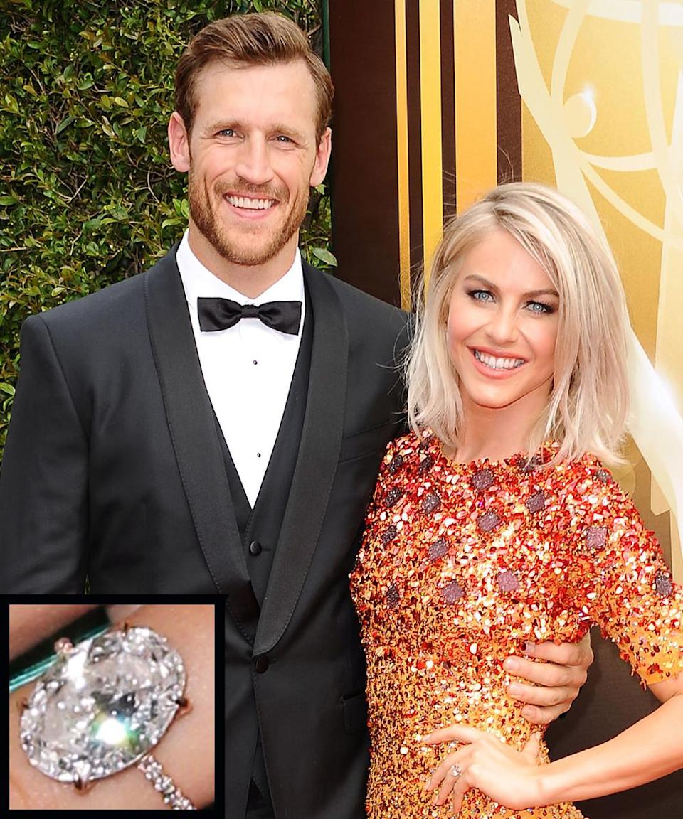 """<p>In 2015 Julianne Hough became engaged to Canadian ice hockey player Brooks Laich, who <a rel=""""nofollow noopener"""" href=""""http://stylenews.peoplestylewatch.com/2015/08/27/julianne-houghs-engagement-ring-get-the-first-look/"""" target=""""_blank"""" data-ylk=""""slk:presented her with"""" class=""""link rapid-noclick-resp"""">presented her with</a> a 5-plus-carat Lorraine Schwartz engagement ring.</p>"""