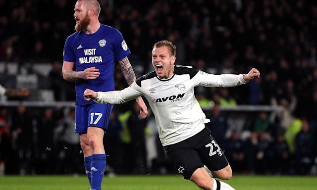 Matej Vydra celebrates scoring Derby's second goal as they came from behind to beat Cardiff 3-1.