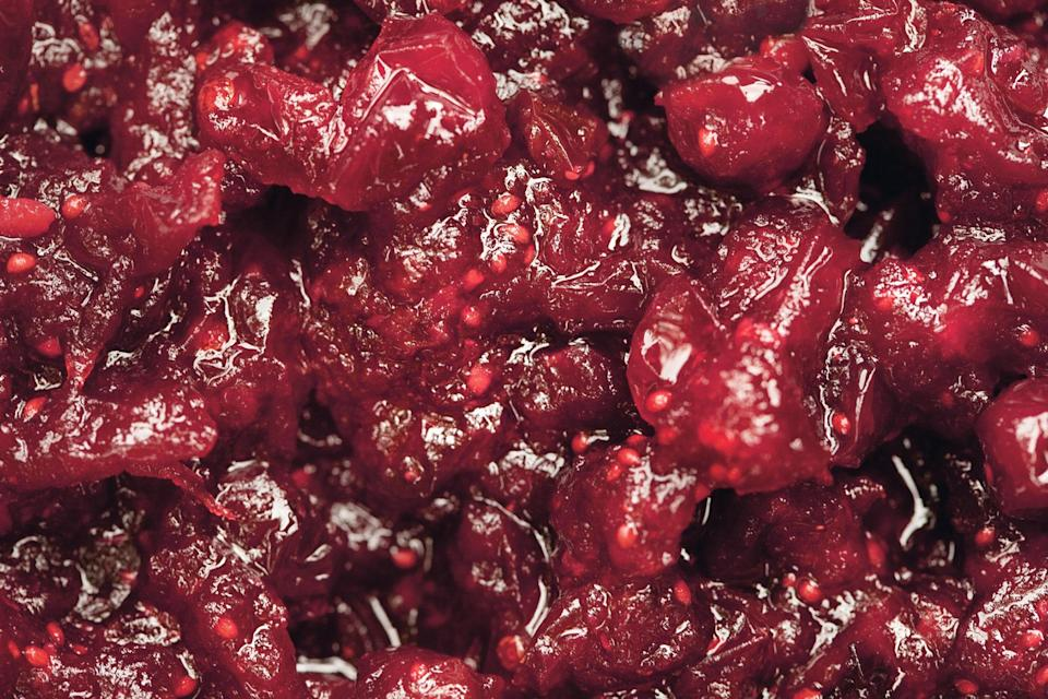 """This relish has a smoky, savory quality, thanks to the chiles and garlic. <a href=""""https://www.epicurious.com/recipes/food/views/chipotle-cranberry-sauce-355799?mbid=synd_yahoo_rss"""" rel=""""nofollow noopener"""" target=""""_blank"""" data-ylk=""""slk:See recipe."""" class=""""link rapid-noclick-resp"""">See recipe.</a>"""
