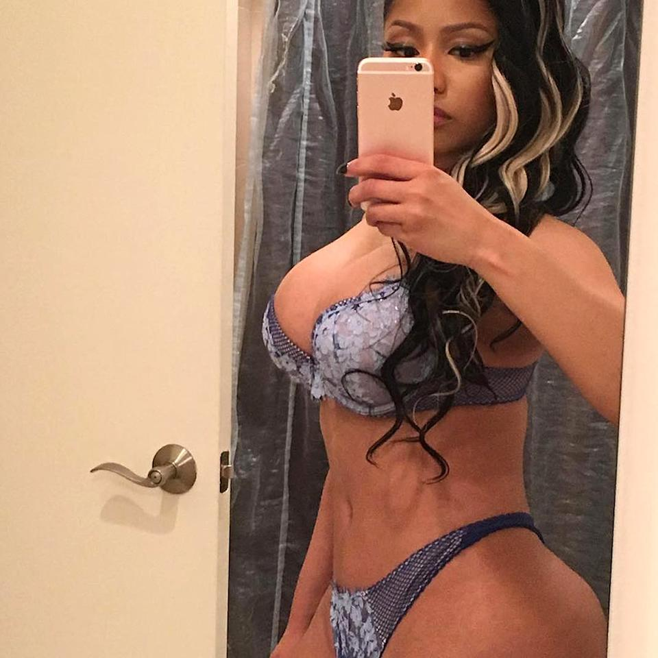 """No caption necessary. Nicki Minaj let her body do the talking in this mirror selfie. The rapper gave fans a peek at her undergarments, without giving all the goods away. You do you, Nicki! (Photo: <a href=""""https://www.instagram.com/p/BFzS3Ztr8at/?taken-by=nickiminaj"""">Instagram</a>)"""