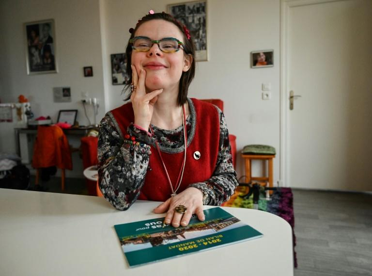 """Besides her day job, Eleonore Laloux is involved with the Down Up association in her home town, and is spokeswoman for """"Les Amis d'Eleonore"""" (The Friends of Eleonore), dedicated to helping people with mental disabilities (AFP Photo/DENIS CHARLET)"""