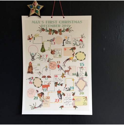 """<p>This charmingly illustrated and personalised baby's first advent<br>calendar is a wonderful way for parents to remember special<br>moments and occasions in the run up to their baby's<br>first ever Christmas. Each day contains space for parents to jot down<br>little anecdotes about their babies or perhaps festive<br>activities they attended as a family.<br></p><p>£15 <a href=""""http://www.maxmademedoit.com/shop/4583966196/keepsake-baby's-first-advent-calendar/10174771"""" rel=""""nofollow noopener"""" target=""""_blank"""" data-ylk=""""slk:Max Made Me Do It"""" class=""""link rapid-noclick-resp"""">Max Made Me Do It</a></p>"""