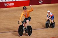 <p>IZU, JAPAN - AUGUST 03: Roy van den Berg of Team Netherlands celebrates winning a gold medal and setting a new Olympic record during the Men´s team sprint finals, gold medal of the Track Cycling on day eleven of the Tokyo 2020 Olympic Games at Izu Velodrome on August 03, 2021 in Izu, Japan. (Photo by Tim de Waele/Getty Images)</p>