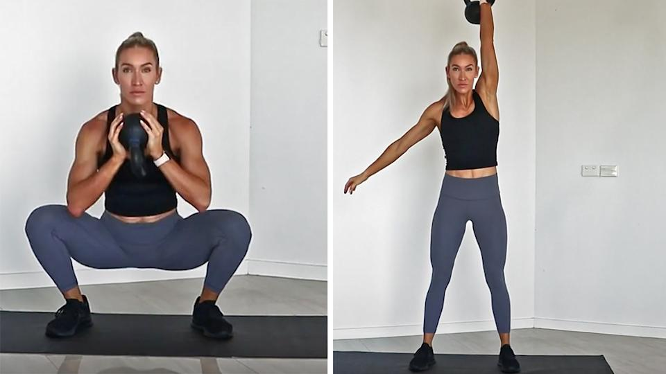 Sweat trainer Cass Olholm workout