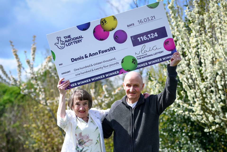 Ann and Denis Fawsitt are celebrating winning over £100,000 on the EuroMillions. (SWNS)