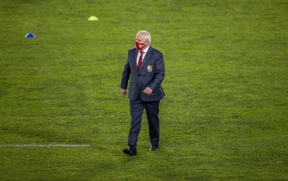 British and Irish Lions' head coach Warren Gatland leaves the field before the start of a warm-up rugby match between South Africa's Sharks and British and Irish Lions, at Ellis Park stadium in Johannesburg, South Africa, Wednesday, July 7, 2021. (AP Photo/Themba Hadebe)