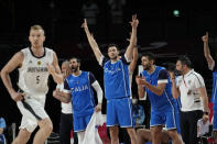 Italy players encourage their teammates during men's basketball preliminary round game against Germany at the 2020 Summer Olympics, Sunday, July 25, 2021, in Saitama, Japan. (AP Photo/Eric Gay)