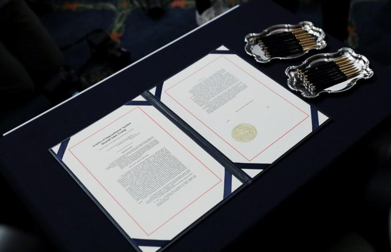 Articles of impeachment of President Trump await U.S. House Speaker Pelosi's signature before engrossment ceremony at the U.S. Capitol in Washington