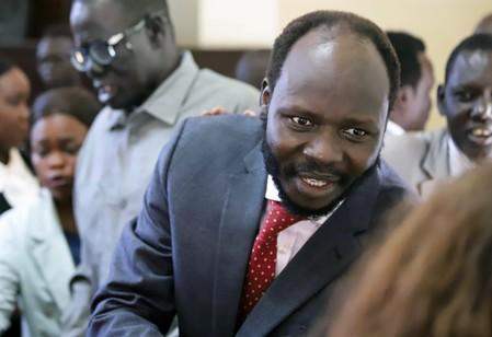 Peter Biar Ajak, the South Sudan country director for the London School of Economics International Growth Centre based in Britain, is seen inside the courtroom in Juba
