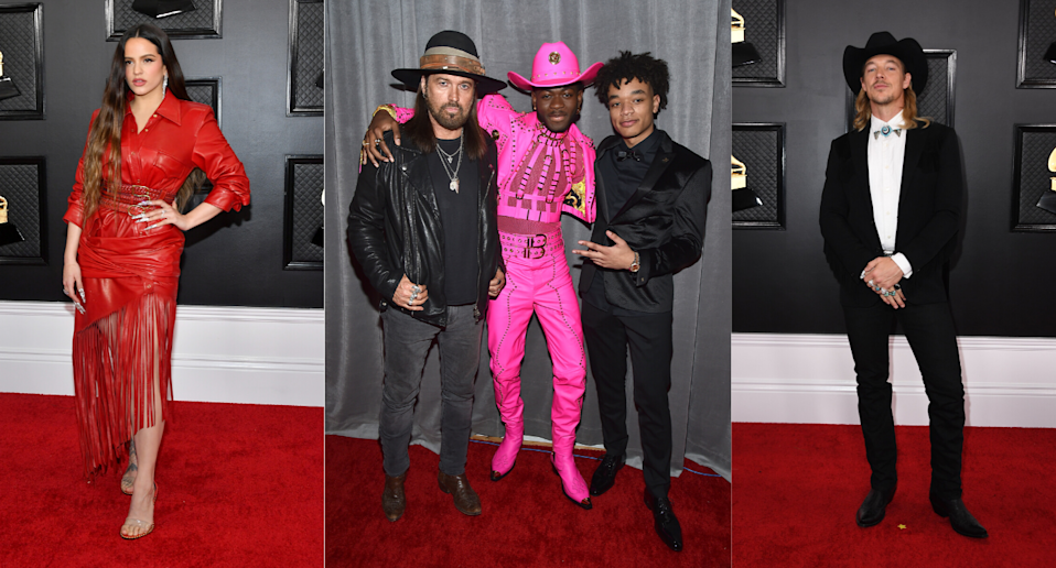 Western fashion at the 2020 Grammy Awards. Images via Getty.