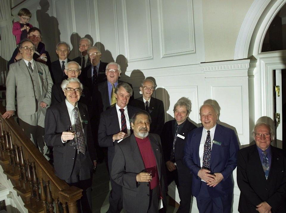 A gathering of British Nobel laureates at the British Embassy in Stockholm, with Hewish in the second row on the left - Herbert Knosowski/AP