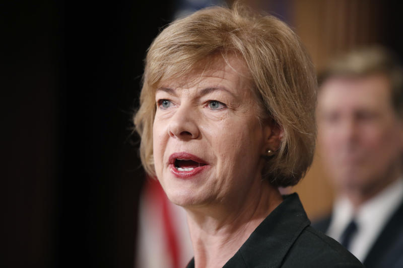 """FILE - In this April 25, 2017, file photo, Sen. Tammy Baldwin, D-Wis., speaks about President Donald Trump's first 100 days, during a media availability on Capitol Hill in Washington. Baldwin is a staunch supporter of the federal health care law, and supports Sen. Bernie Sanders' """"Medicare-for-all"""" single-payer health care proposal. (AP Photo/Alex Brandon, File)"""