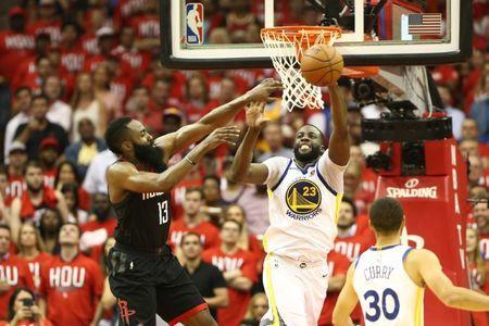May 14, 2018; Houston, TX, USA; Houston Rockets guard James Harden (13) and Golden State Warriors forward Draymond Green (23) battle for a ball during the fourth quarter in game one of the Western conference finals of the 2018 NBA Playoffs at Toyota Center. Mandatory Credit: Troy Taormina-USA TODAY Sports