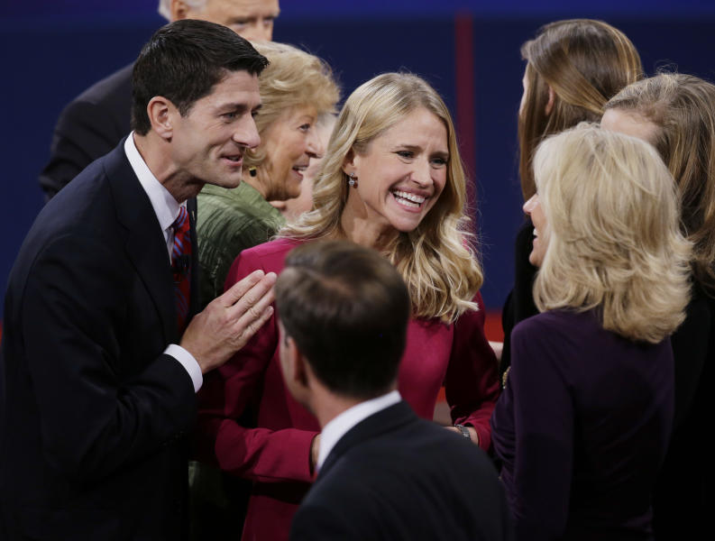 Republican vice presidential nominee Rep. Paul Ryan of Wisconsin and wife Janna Ryan talk to Jill Biden, wife of Vice President Joe Biden after the vice presidential debate at Centre College, Thursday, Oct. 11, 2012, in Danville, Ky. (AP Photo/Mark Humphrey)