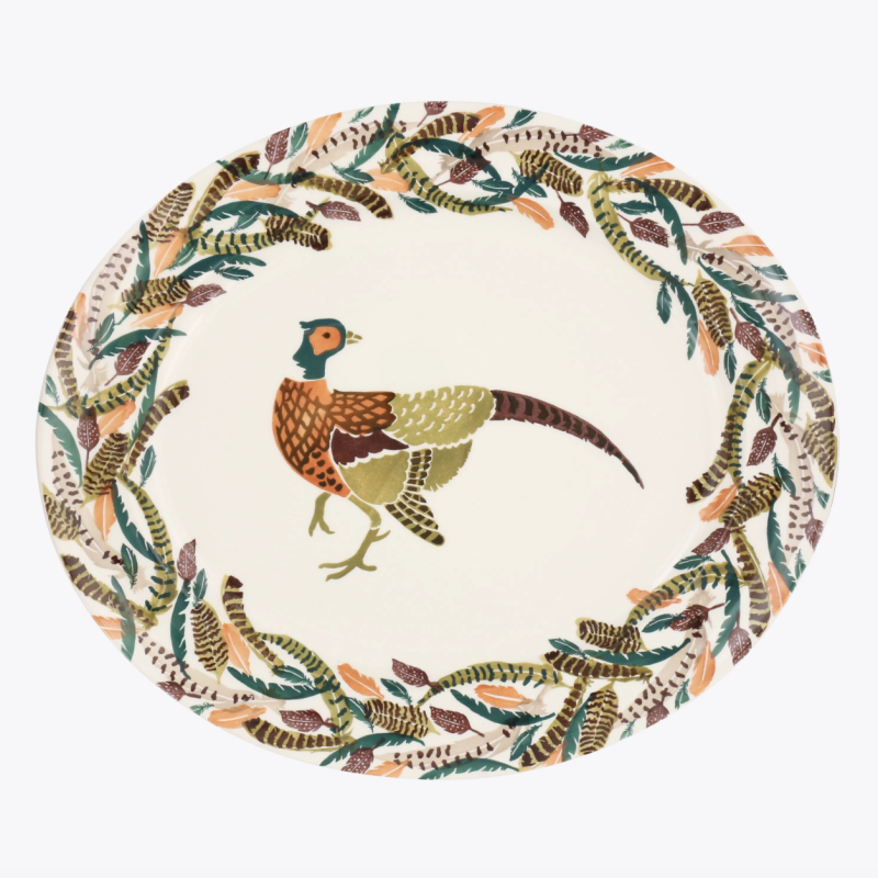 Pheasant Feathers Large Oval Platter, £115.00 [Photo: Emma Bridgewater]
