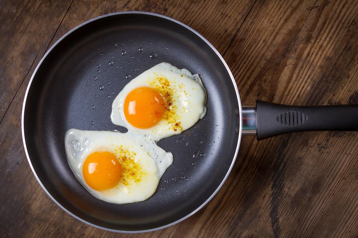 Nonstick pan with two fried eggs