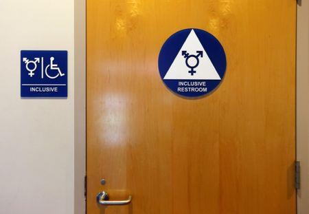 FILE PHOTO: A gender neutral bathroom is seen at the University of California, Irvine