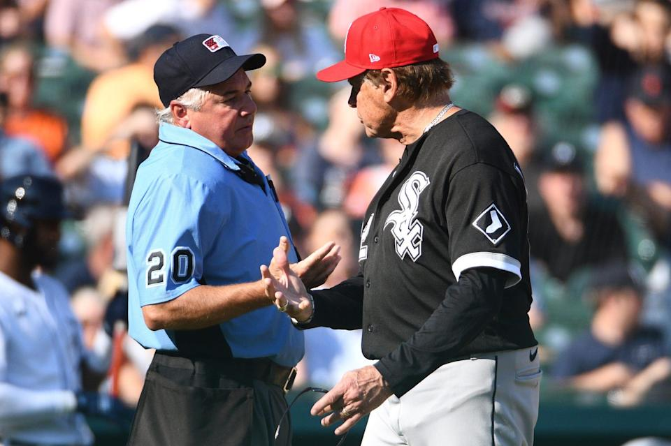 Chicago White Sox manager Tony La Russa (22) and umpire Tom Hallion (20) during the fifth inning against the Detroit Tigers at Comerica Park. Saturday July 3, 2021.