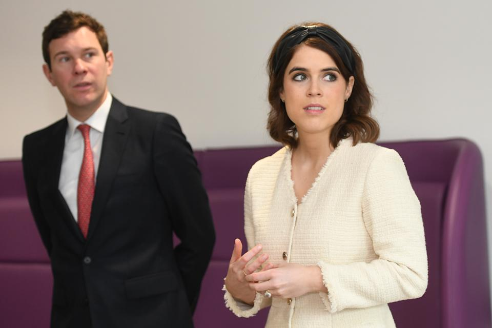 Princess Eugenie and Jack Brooksbank visit the Royal National Orthopaedic Hospital in London to open the new Stanmore Building. (Photo by David Mirzoeff/PA Images via Getty Images)