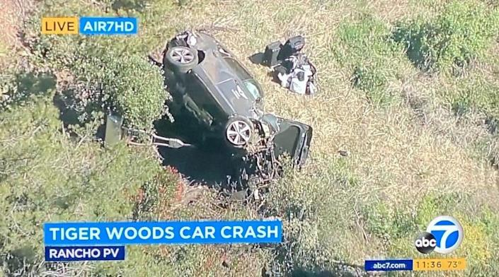 <p>Tiger Woods hospitalised after serious car accident in California</p> (ABC7)