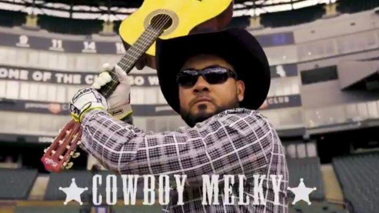 Melky Cabrera plays Cowboy Melky in a White Sox promo video. (Twittter/@WhiteSox)