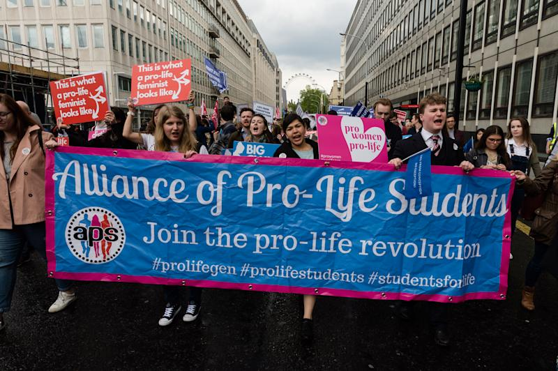 Thousands of anti-abortion supporters take part in the 'March For Life' through Westminster followed by a rally in Parliament Square on 11 May, 2019 in London, England. (Photo by WIktor Szymanowicz/NurPhoto via Getty Images)