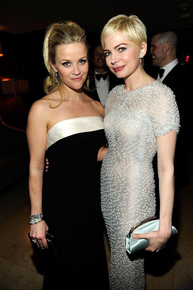 Reese Witherspoon opted for a sky-high ponytail, while Michelle Williams continued to flaunt her adorable pixie cut.