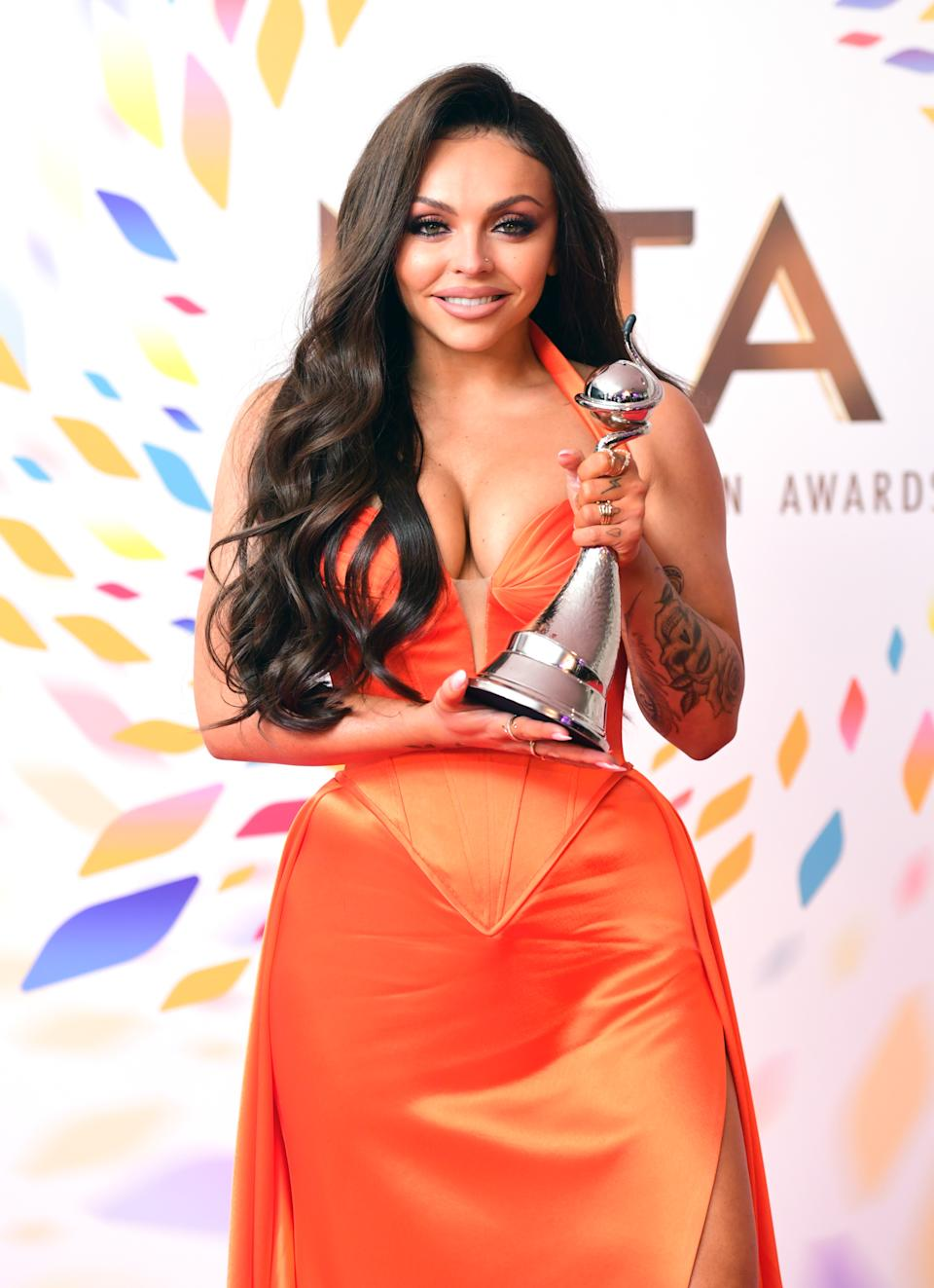 Jesy Nelson with the award for best factual in the Press Room during the National Television Awards at London's O2 Arena. (Photo by Ian West/PA Images via Getty Images)